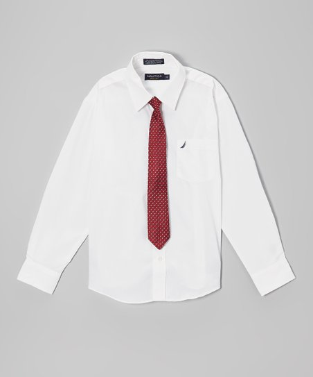 White Poplin Long-Sleeve Button-Up & Red Tie