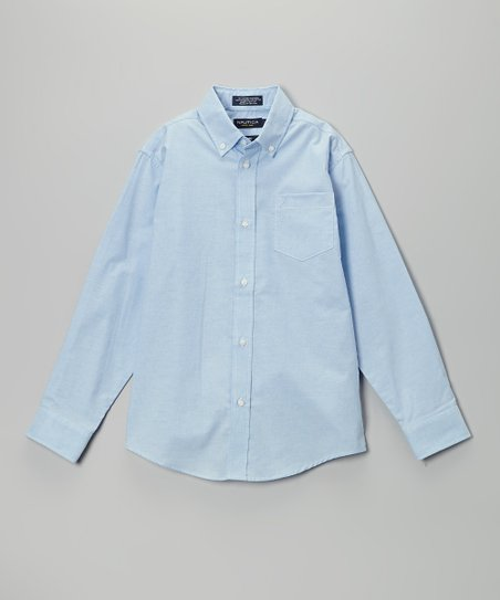 Blue Oxford Long-Sleeve Button-Up - Boys