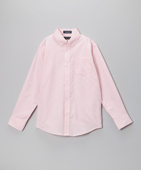 Pink Oxford Long-Sleeve Button-Up - Boys