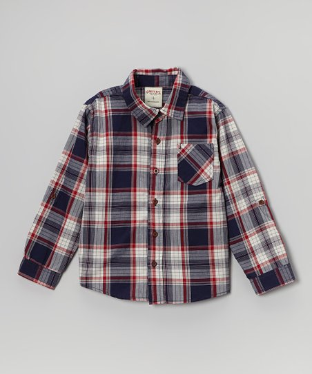 Blue & Red Plaid Button-Up - Boys