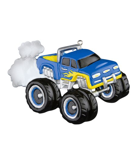 Blue Monster Truck Ornament Set