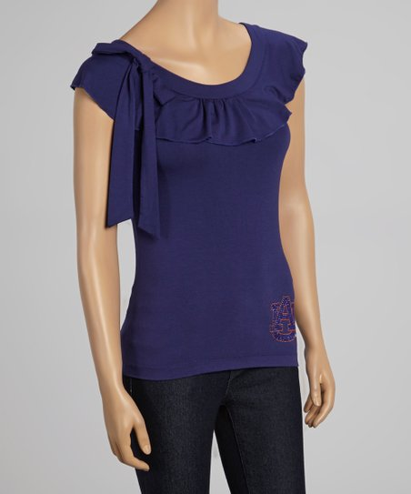 Auburn Tigers Navy Flirty Ruffle Yoke Top - Women