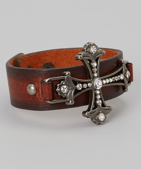 Brown Leather Sparkle Filigree Cross Bracelet