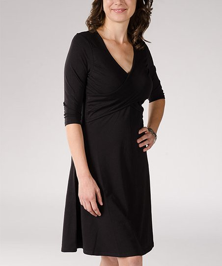 Black Maria Nursing Surplice Dress