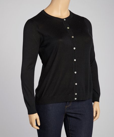 Black Silk-Blend Cardigan - Plus