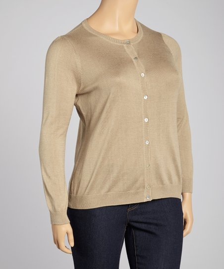 Camel Silk-Blend Cardigan - Plus