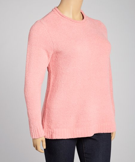 Baby Doll Pink Crewneck Sweater - Plus