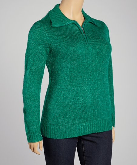 Sparkling Jade Wide-Collar Sweater - Plus