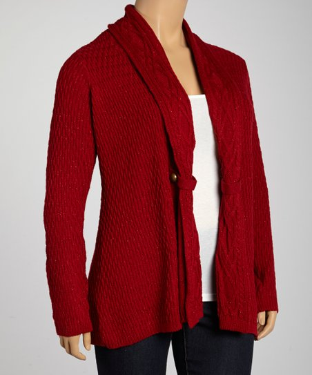 Red Cherry Cable-Collar Cardigan - Plus