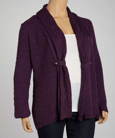 Majestic Violet Cable-Collar Cardigan - Plus