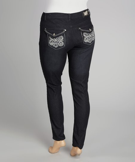 Black Embellished Button Pocket Skinny Jeans - Plus