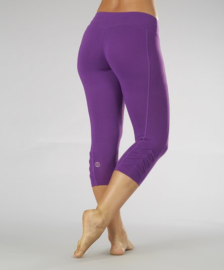 Purple Magic Pleated Capri Leggings