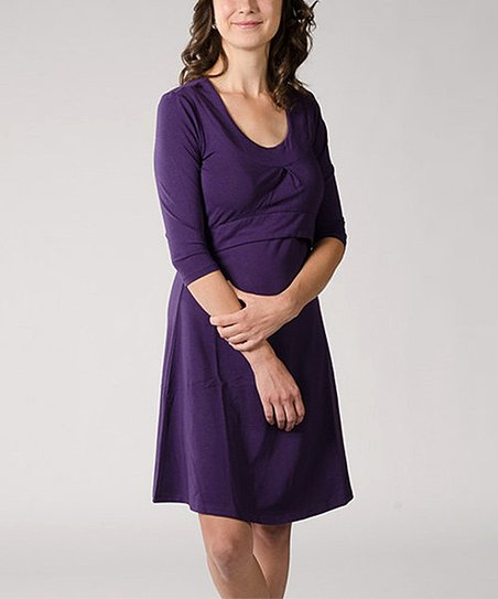 Grape Jolie Nursing Scoop Neck Dress