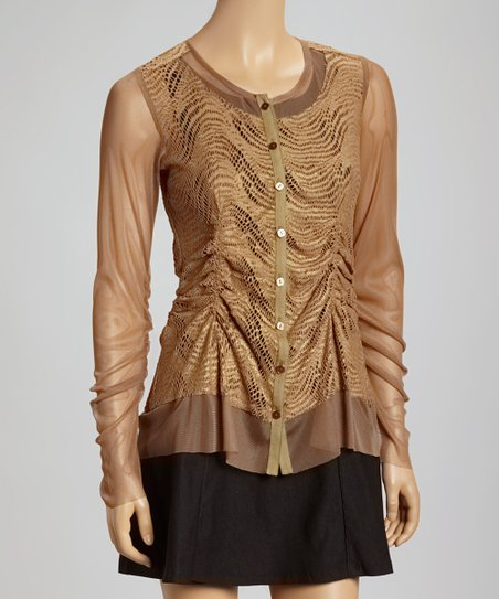 Taupe Sheer Lace Cardigan