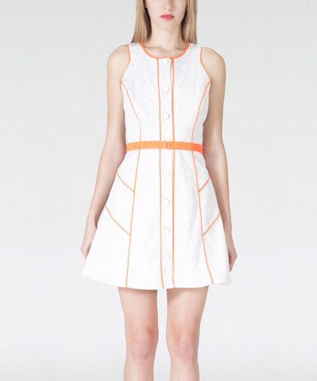 White & Orange Button-Up A-Line Sleeveless Dress