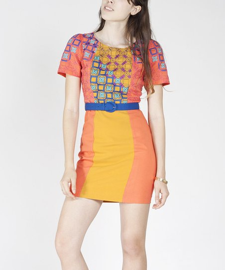 Coral & Yellow Geometric Belted Dress