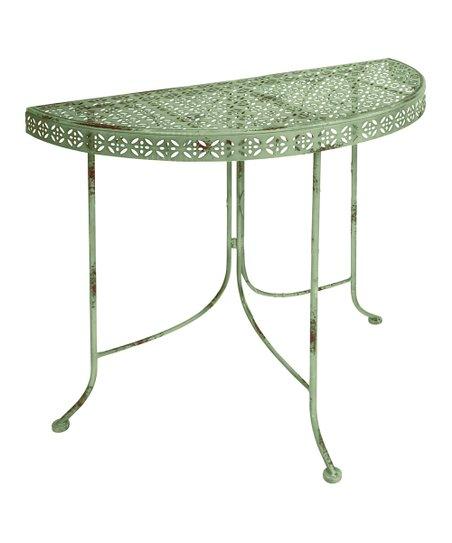 Antique Sage Half Round Table