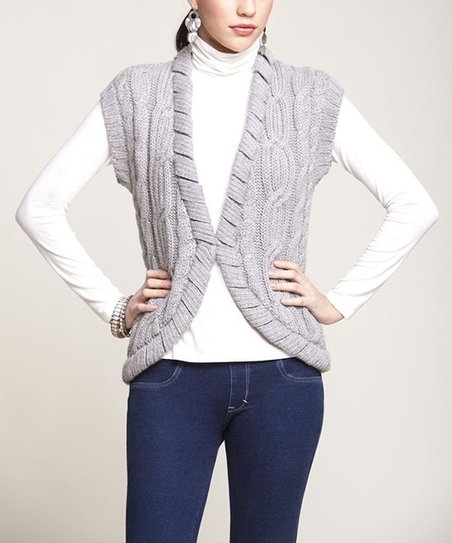 Heather Gray Braided Alpaca Vest
