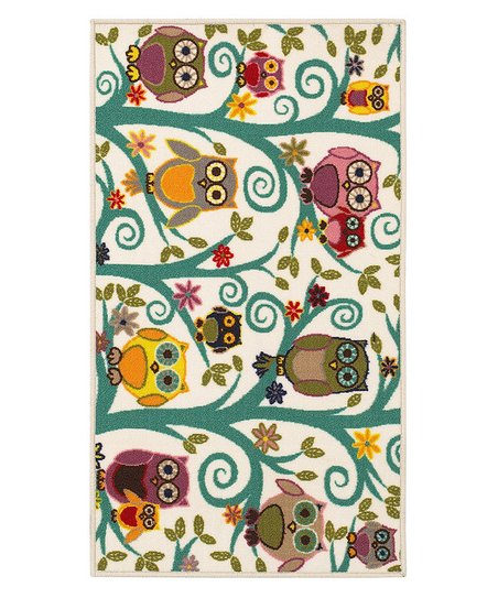 zulily-Exclusive Ivory Owls & Flowers Rug