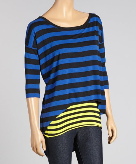 Royal Blue & Black Stripe Scoop Neck Tunic - Women