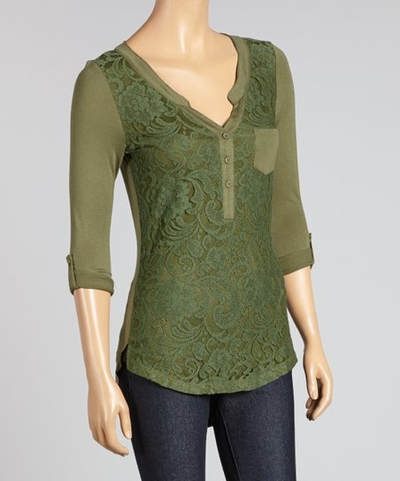 Olive Lace Henley