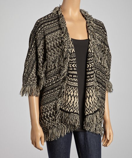 Beige & Black Tribal Open Cardigan