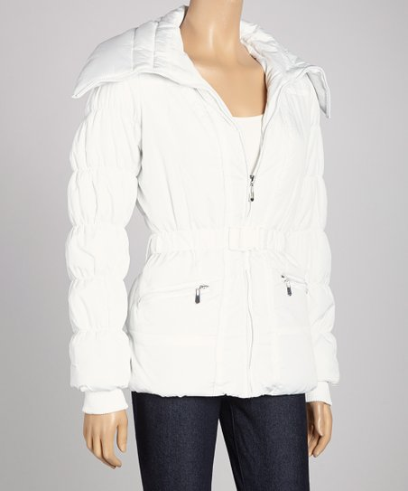 White Belted Puffer Jacket