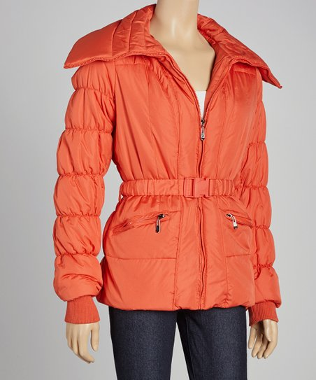 Red Orange Belted Puffer Jacket