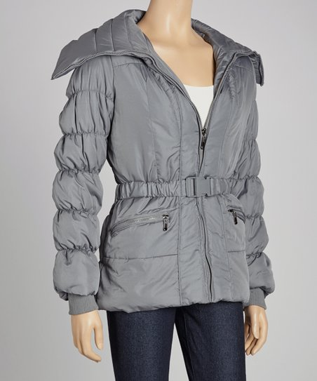 Steel Gray Belted Puffer Jacket