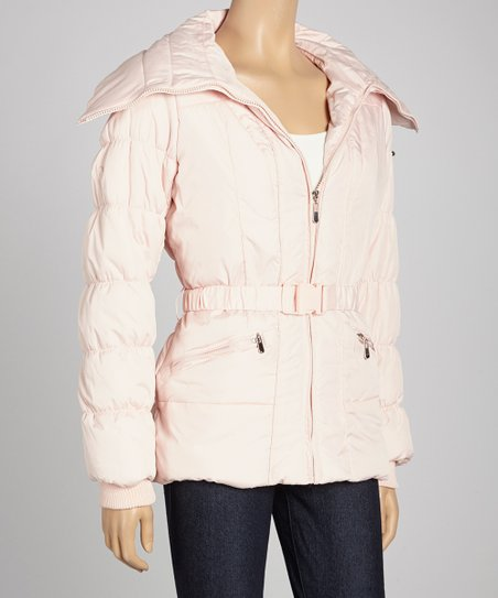 Dusty Pink Belted Puffer Jacket