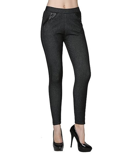 Dark Denim Rhinestone Faux Fur-Lined Jeggings