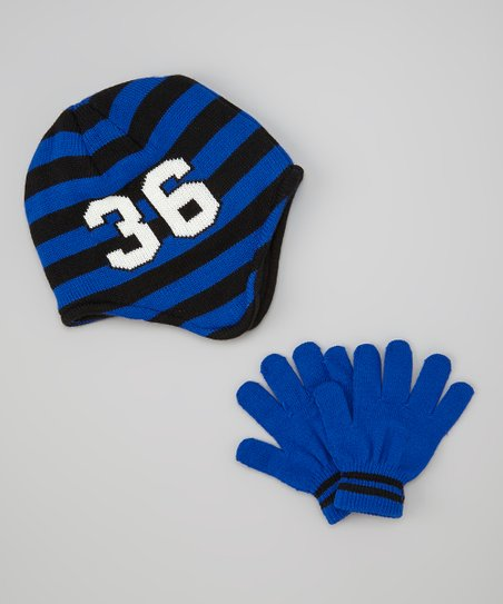 Blue & Black '36' Earflap Beanie & Gloves