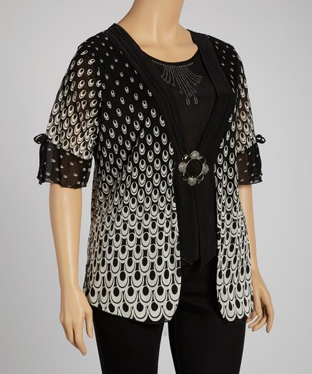 Black & Ivory Polka Dot Embellished Button Top - Plus