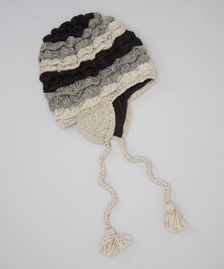 Gray & Black Wool Earflap Beanie