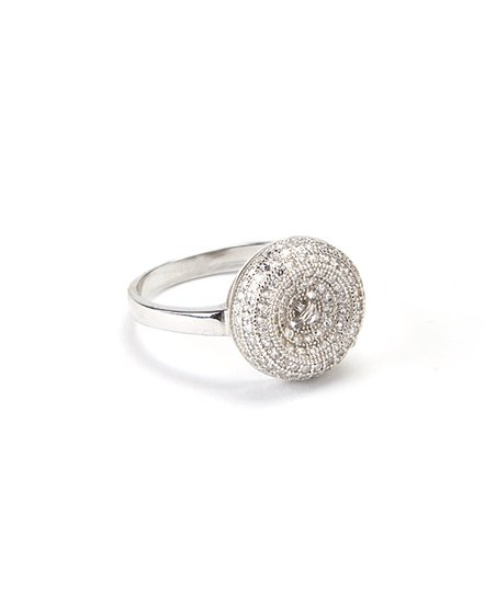 Cubic Zirconia & Sterling Silver Button Ring