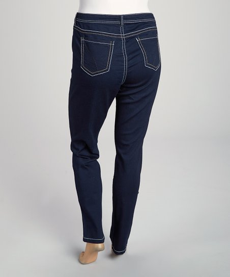 Dark Blue Contrast Jeggings - Plus