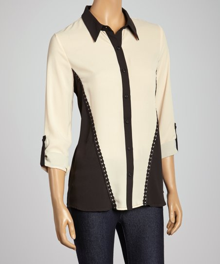 Ivory & Black Lace-Trim Button-Up
