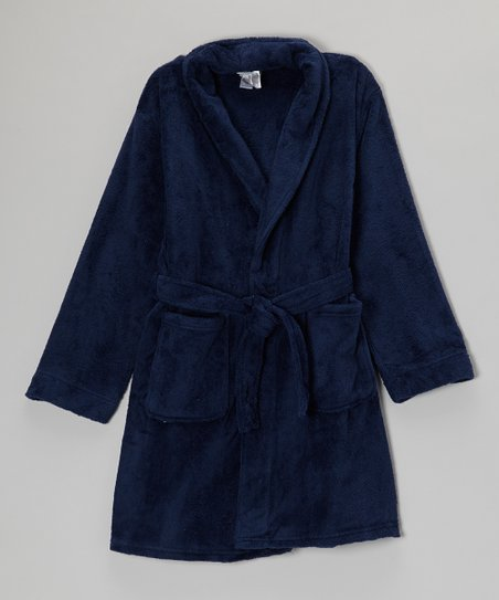 Navy Fleece Robe - Boys