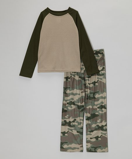 Hunter Green Camo Thermal Pajama Set - Boys