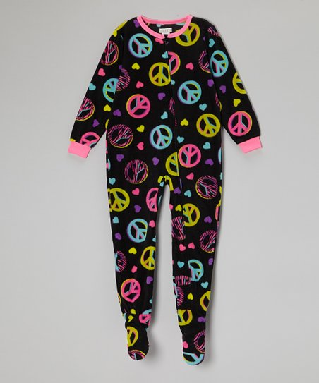 Black Peace Fleece Footie - Girls