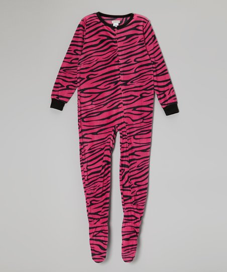 Pink Zebra Fleece Footie - Girls