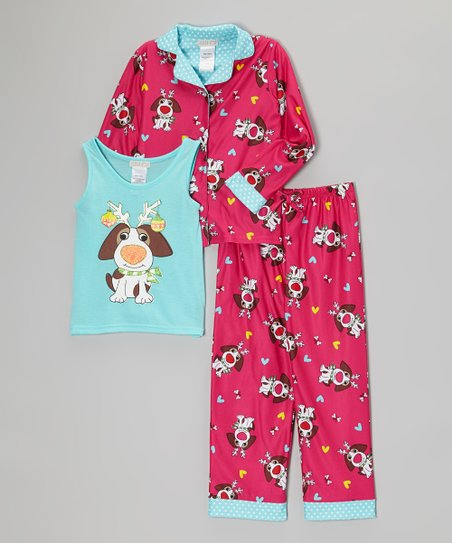 Pink Dog Three-Piece Pajama Set  - Girls
