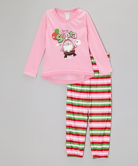 Pink 'I Love Santa' Pajama Set - Girls