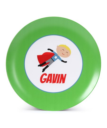 Blonde Super Boy Personalized Plate
