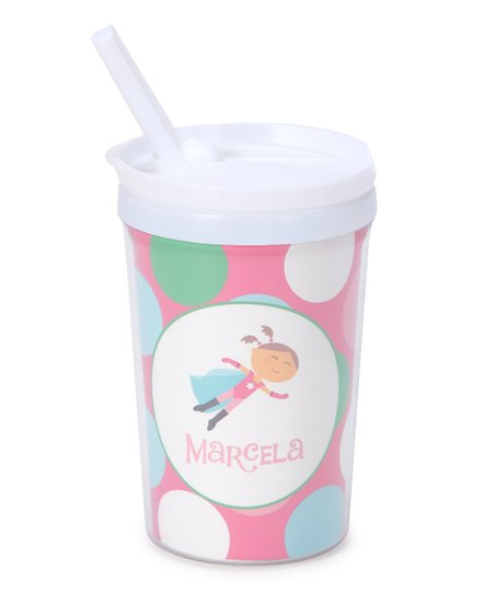 Brown-Haired Super Girl Personalized Toddler Cup
