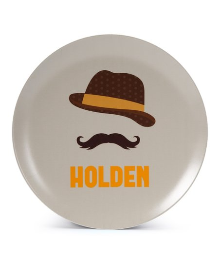 Fedora &amp; Mustache Personalized Plate