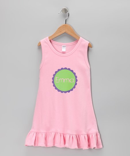 Pink Personalized Ruffle Dress - Toddler & Girls