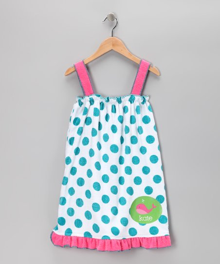 Blue Polka Dot Whale Personalized Dress - Girls