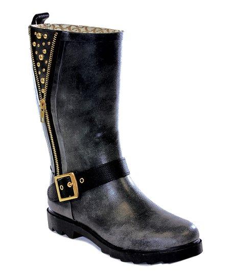 Black Stud Mid-Calf Rain Boots - Women