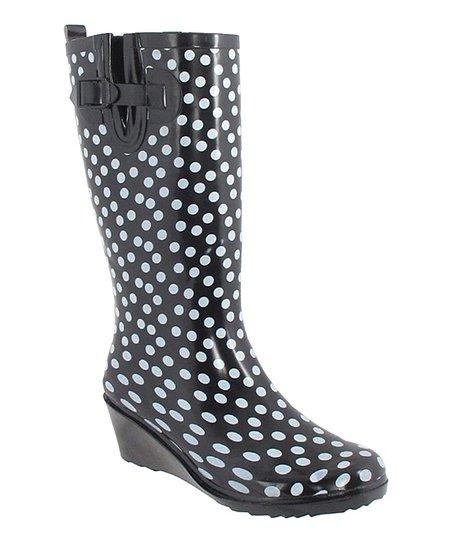 Black Polka Dot Wedge Rain Boot